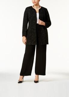 Nine West Plus Size Crinkled Jacquard Topper Jacket