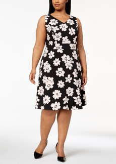 Nine West Plus Size Daisy-Print Fit & Flare Dress
