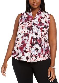 Nine West Plus Size Floral-Print V-Neck Blouse