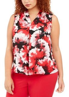 Nine West Plus Size Floral-Print V-Neck Top