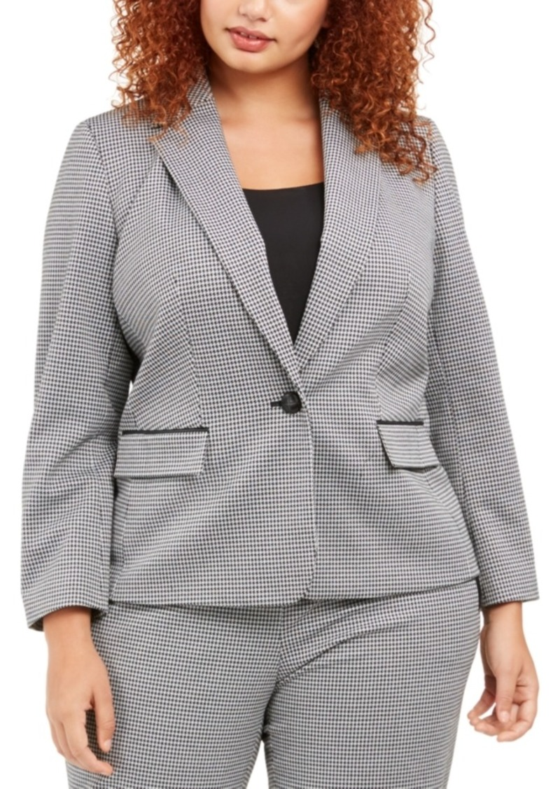 Nine West Plus Size Houndstooth One-Button Blazer