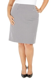Nine West Plus Size Houndstooth-Print Pencil Skirt