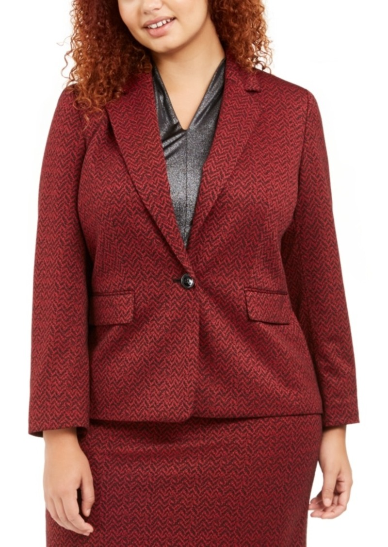 Nine West Plus Size One-Button Jacquard Blazer