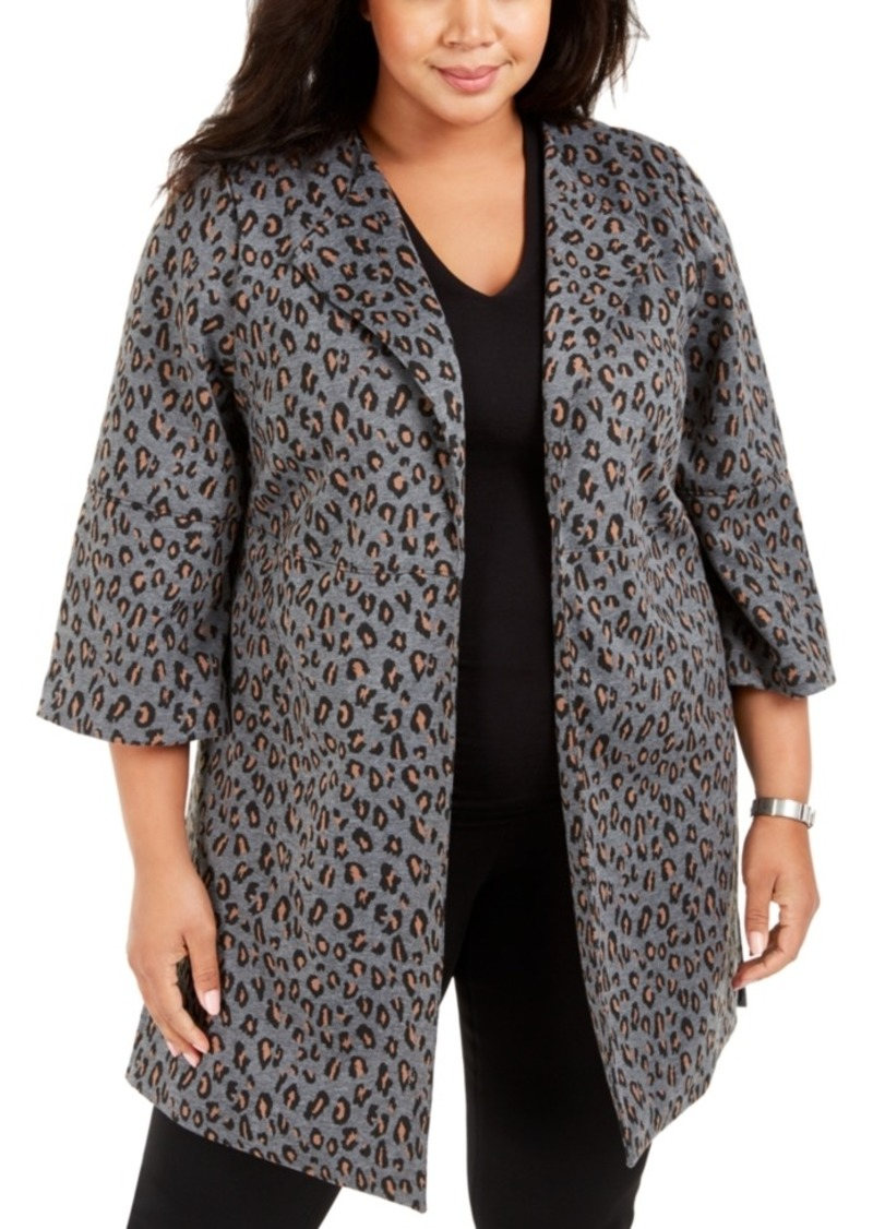 Nine West Plus Size Peaked-Lapel Animal-Print Jacket