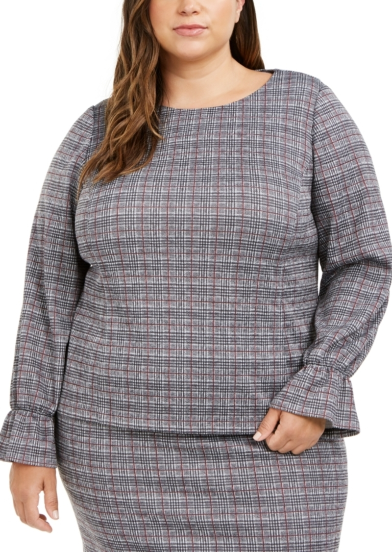 Nine West Plus Size Plaid Bell-Cuff Top