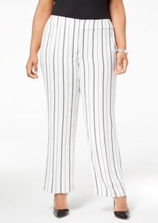 Nine West Plus Size Striped Wide-Leg Trousers