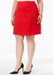 Nine West Plus Size Textured Crepe Button Skirt