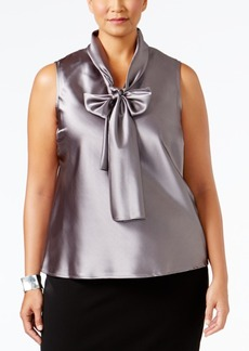 Nine West Plus Size Tie-Neck Blouse