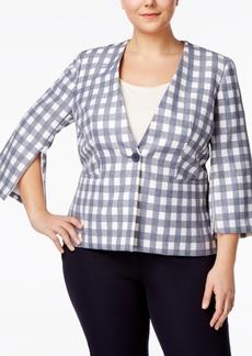 Nine West Plus Size Zip-Sleeve Plaid Blazer