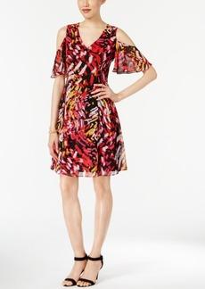 Nine West Printed Cold-Shoulder A-Line Dress