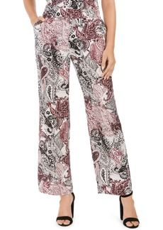 Nine West Pull-On Wide-Leg Printed Pants