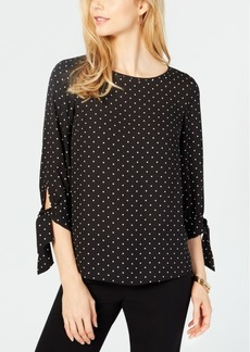 Nine West Printed Tie-Sleeve Crepe Blouse