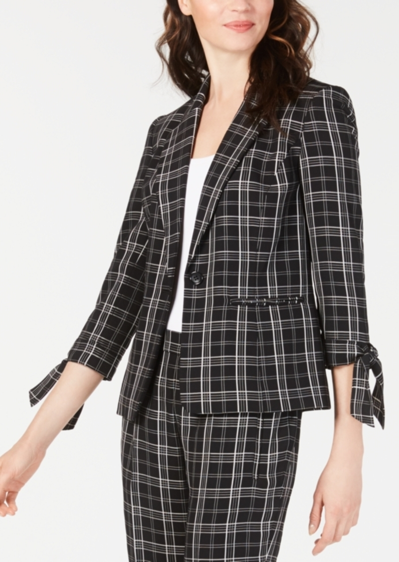 Nine West Plaid Tie-Sleeve Blazer