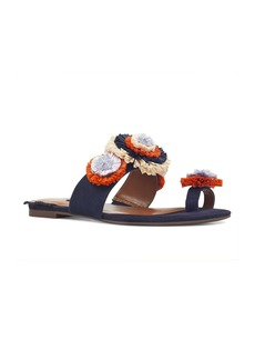 Nine West Sendran Raffia Flower Sandal (Women)