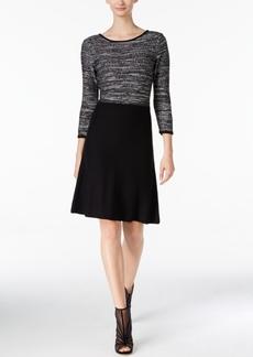 Nine West Sequined Marled A-Line Sweater Dress