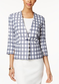 Nine West Single-Button Checked Blazer