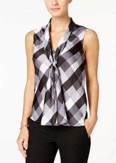 Nine West Sleeveless Plaid Tie-Front Blouse