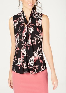 Nine West Sleeveless Tie-Neck Printed Blouse