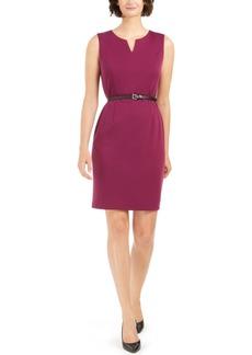 Nine West Split-Neck Belted Sheath Dress