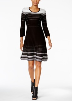 Nine West Striped A-Line Sweater Dress
