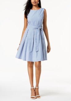 Nine West Striped Belted A-Line Dress