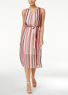Nine West Striped Self-Tie Midi Dress