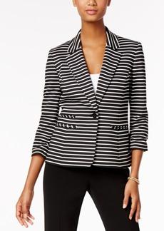 Nine West Striped Single-Button Blazer