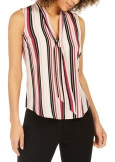 Nine West Striped Tie-Trim V-Neck Blouse