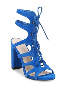 Nine West Suede Lace-Up Cage Sandals