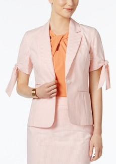 Nine West Tie-Cuff Striped Seersucker Blazer