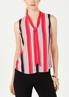 Nine West Tie-Neck Striped Blouse