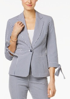 Nine West Tie-Sleeve Gingham Blazer