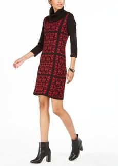 Nine West Tile-Print Cowlneck Sweater Dress