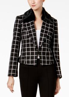 Nine West Tweed Faux-Fur-Trim Blazer