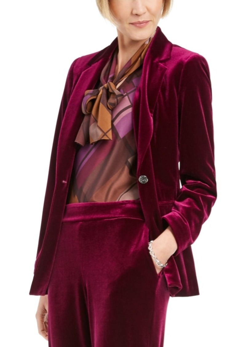 Nine West Velvet Notched-Lapel Blazer