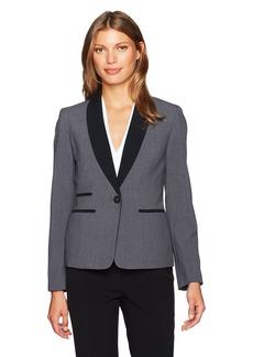 Nine West Women's 1 Button Contrast Shawl Collar Bi Stretch Jacket