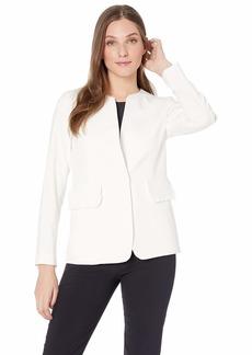 Nine West Women's 1 Button Jewel Collar KISS Front Stretch Jacket