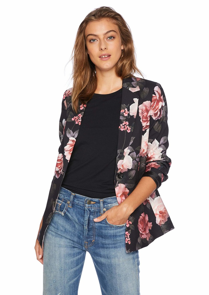 Nine West Women's 1 Button Notch Collar Floral Printed Crepe Jacket