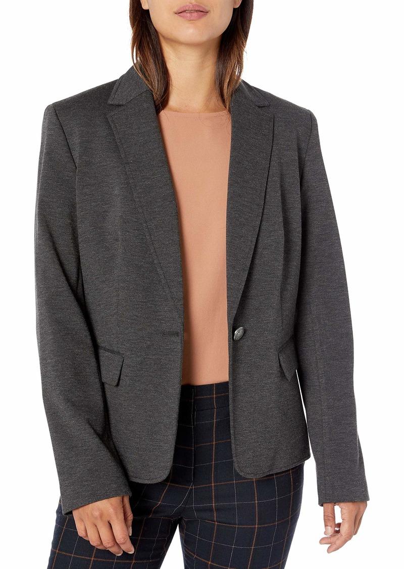 Nine West Women's 1 Button Notch Collar Heathered Ponte Jacket  M