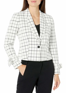 NINE WEST Women's 1 Button Notch Collar Plaid Cropped Jacket with Wrist Ties & Front Pocket