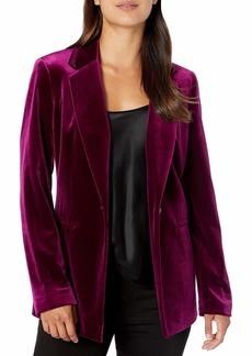 NINE WEST Women's 1 Button Notch Collar Velvet Jacket