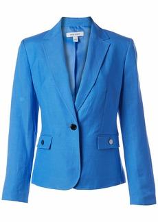 NINE WEST Women's 1 Button Notch Collar Linen Jacket Marina(9LM) L