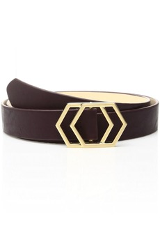 Nine West Women's 1.25 Inch Panel Belt with Geo Plaque Buckle