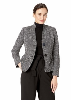 Nine West Women's 2 Button Stand Collar Knit Jacket