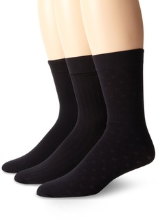 Nine West Women's 3 Pack Cable Solid Polka Dot Sheer Trouser Socks