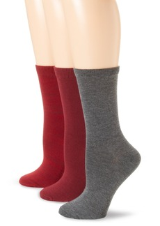 Nine West Women's 3 Pack Space Dyed Flat Flat Crew Socks Wine/Cherry Combo 9-11