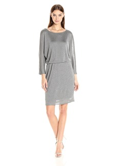 Nine West Women's 3/ Shimmer Slv Dolman Blouson Dress