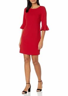 NINE WEST Women's 3/4 SLV Ruffle Cuff Dress