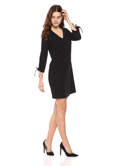 Nine West Women's 3/ V Neck Shift Dress With Tie Rouching Detail At Slv