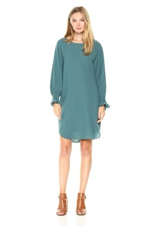 Nine West Women's 3/4 Crepe Shift Dress With Smocking Detail AT Sleeve